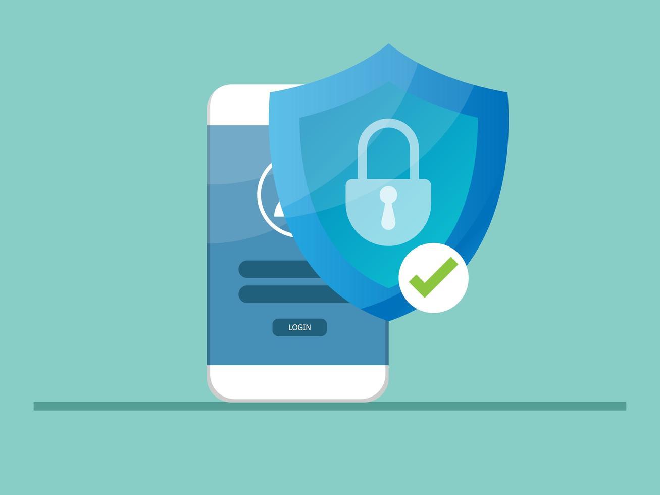 móvil bloqueado con protector de escudo, concepto de seguridad cibernética vector