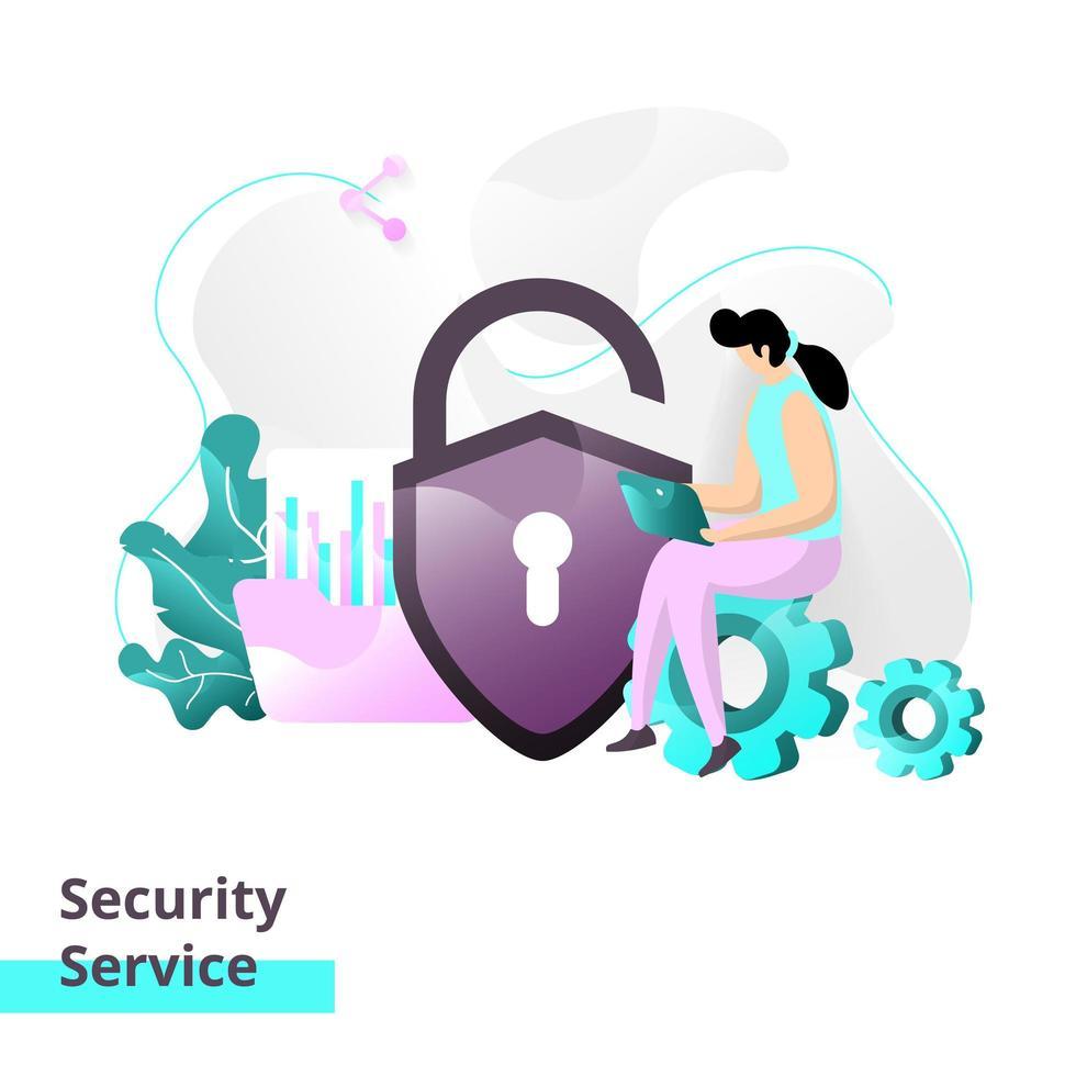 plantilla de página de destino del servicio de seguridad vector