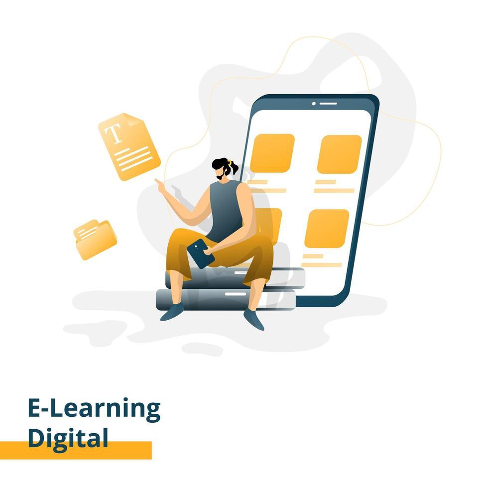 página de inicio de e-learning digital vector