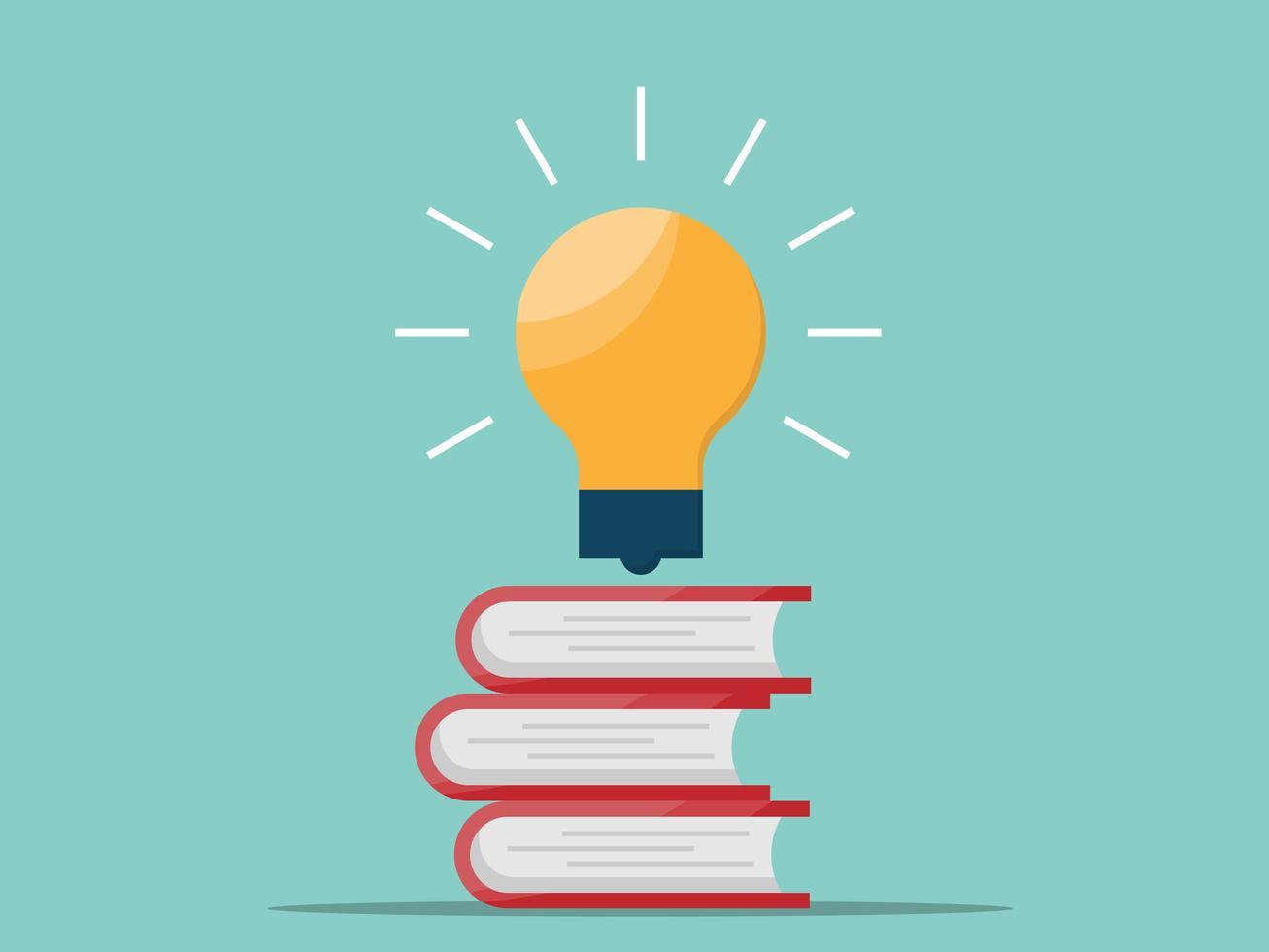 light bulb floating on stack of books vector