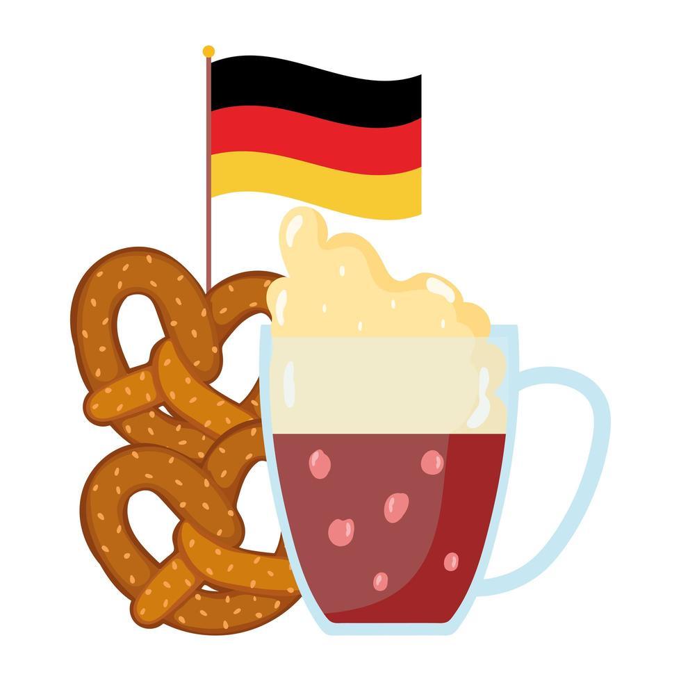 Oktoberfest festival, pretzels de cerveza y bandera, celebración tradicional alemana vector