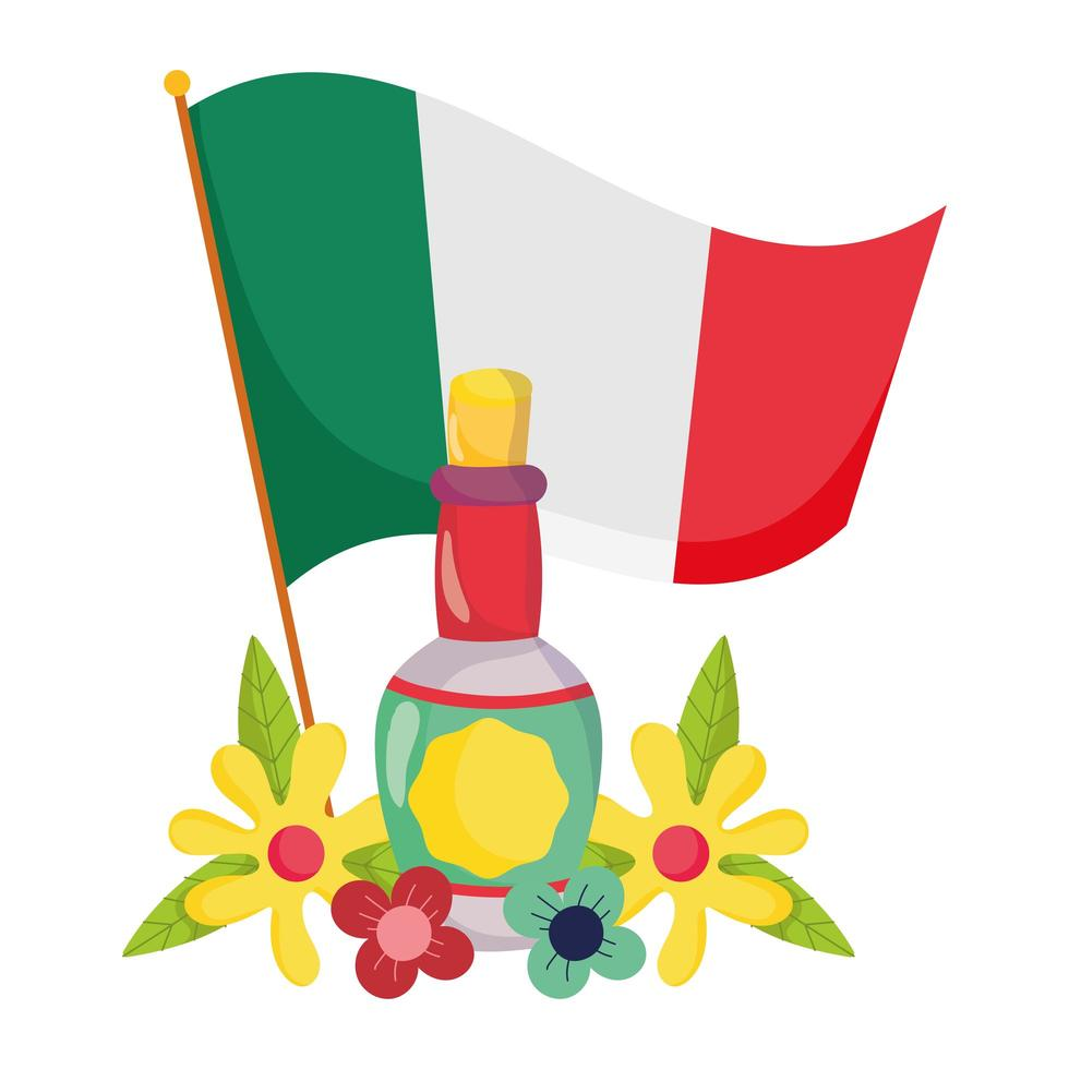 mexican independence day, flag tequila bottle and flowers, celebrated in september vector