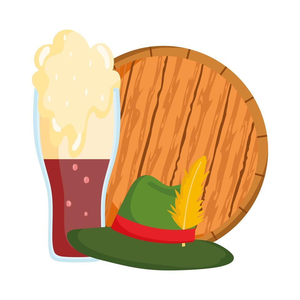 Oktoberfest festival, sombrero y cerveza fría en barril de madera, celebración tradicional alemana vector