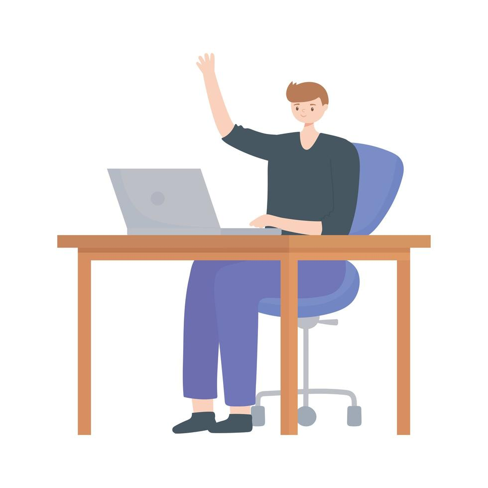 young man using laptop on desk isolated design white background vector