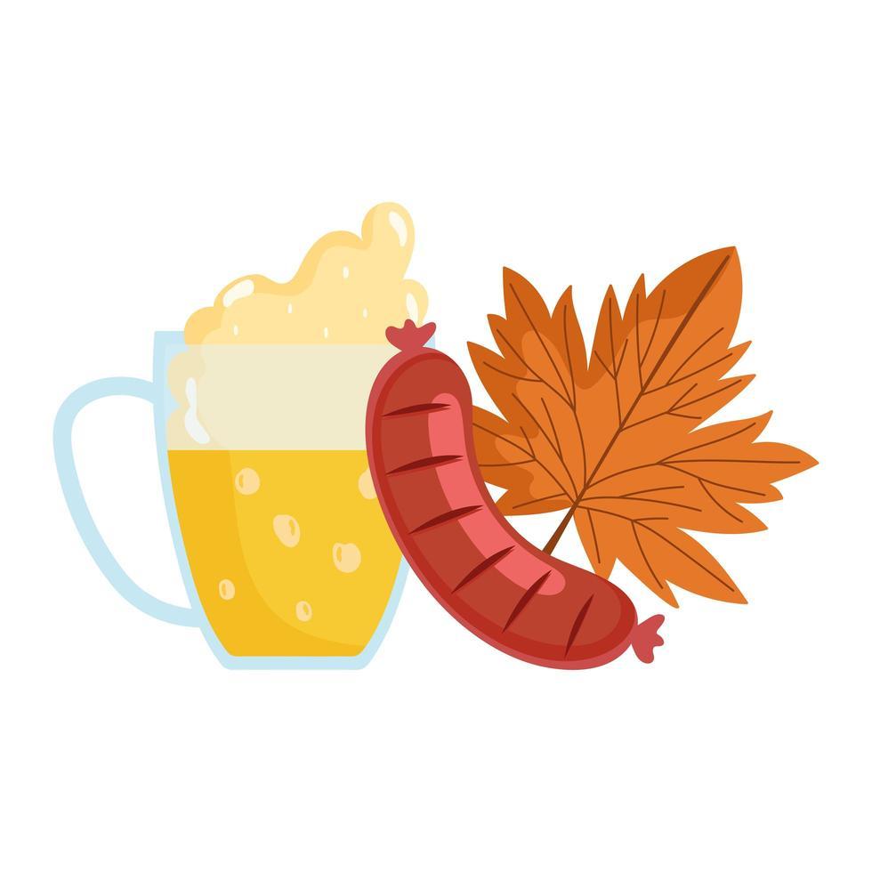 oktoberfest festival, sausage beer and maple leaf, traditional german celebration vector
