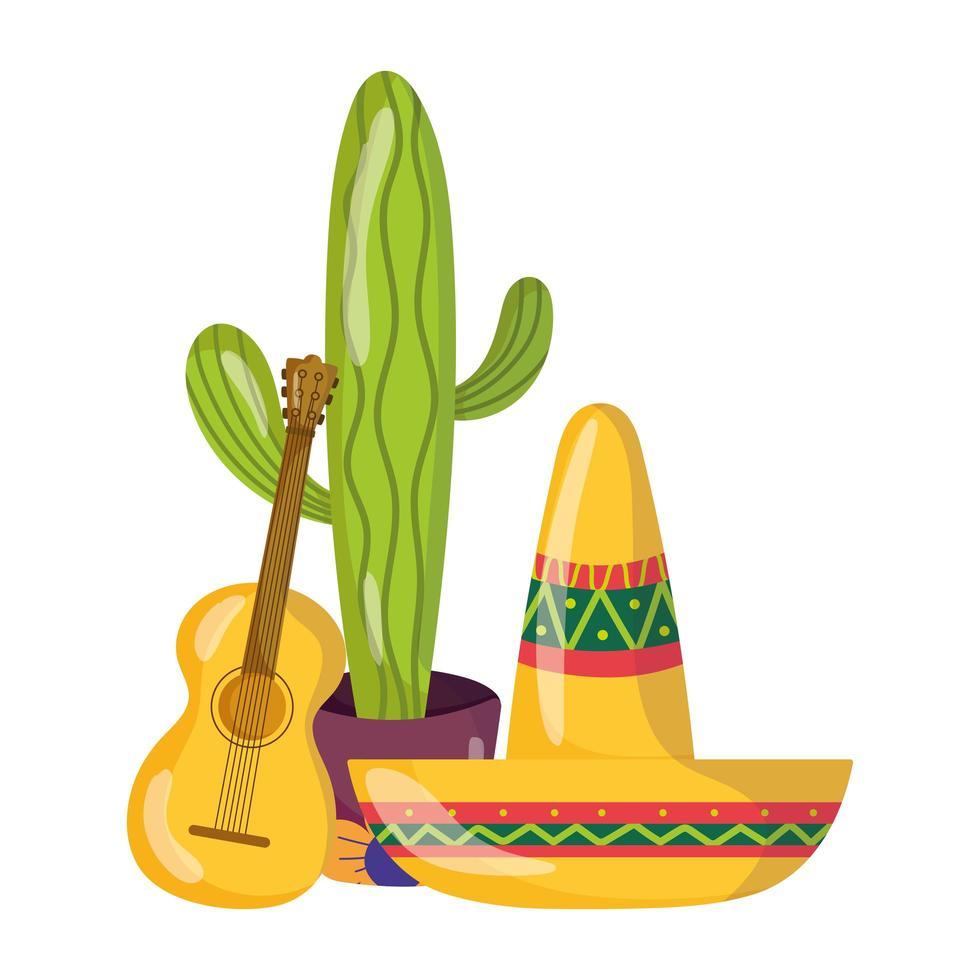 día de la independencia mexicana, guitarra y sombrero de cactus en maceta, celebrado en septiembre vector