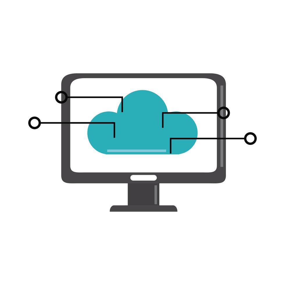 Análisis de datos, estrategia empresarial de conexión de almacenamiento en la nube de computadora e icono plano de inversión vector