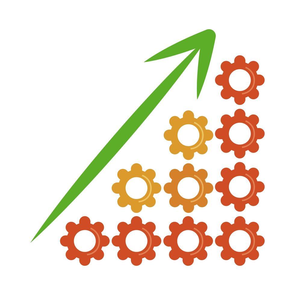 análisis de datos, gráfico, engranajes, crecimiento, flecha, financiero, plano, icono vector
