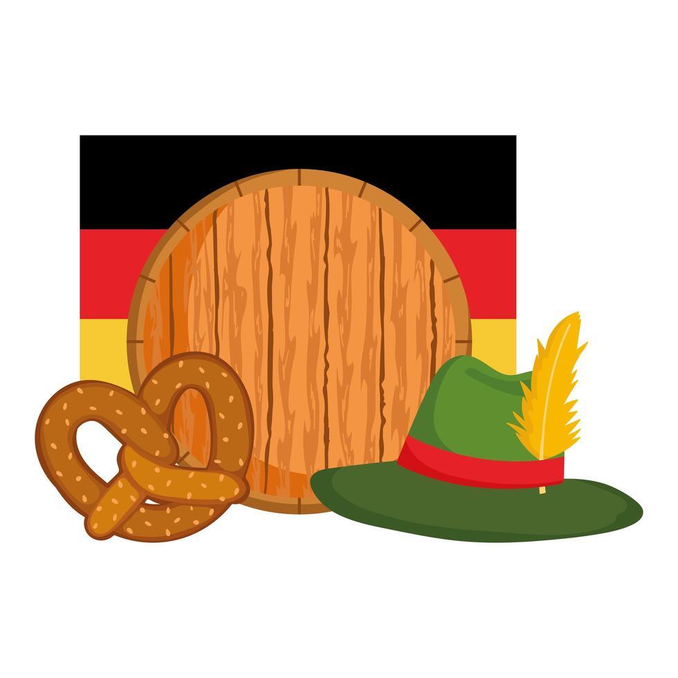 oktoberfest festival, barrel hat flag and pretzel, traditional german celebration vector