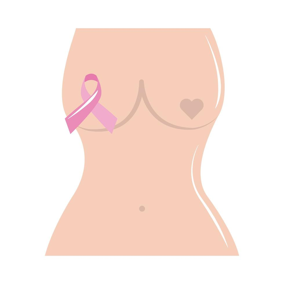 breast cancer awareness month, female body ribbon healthcare concept flat icon style vector