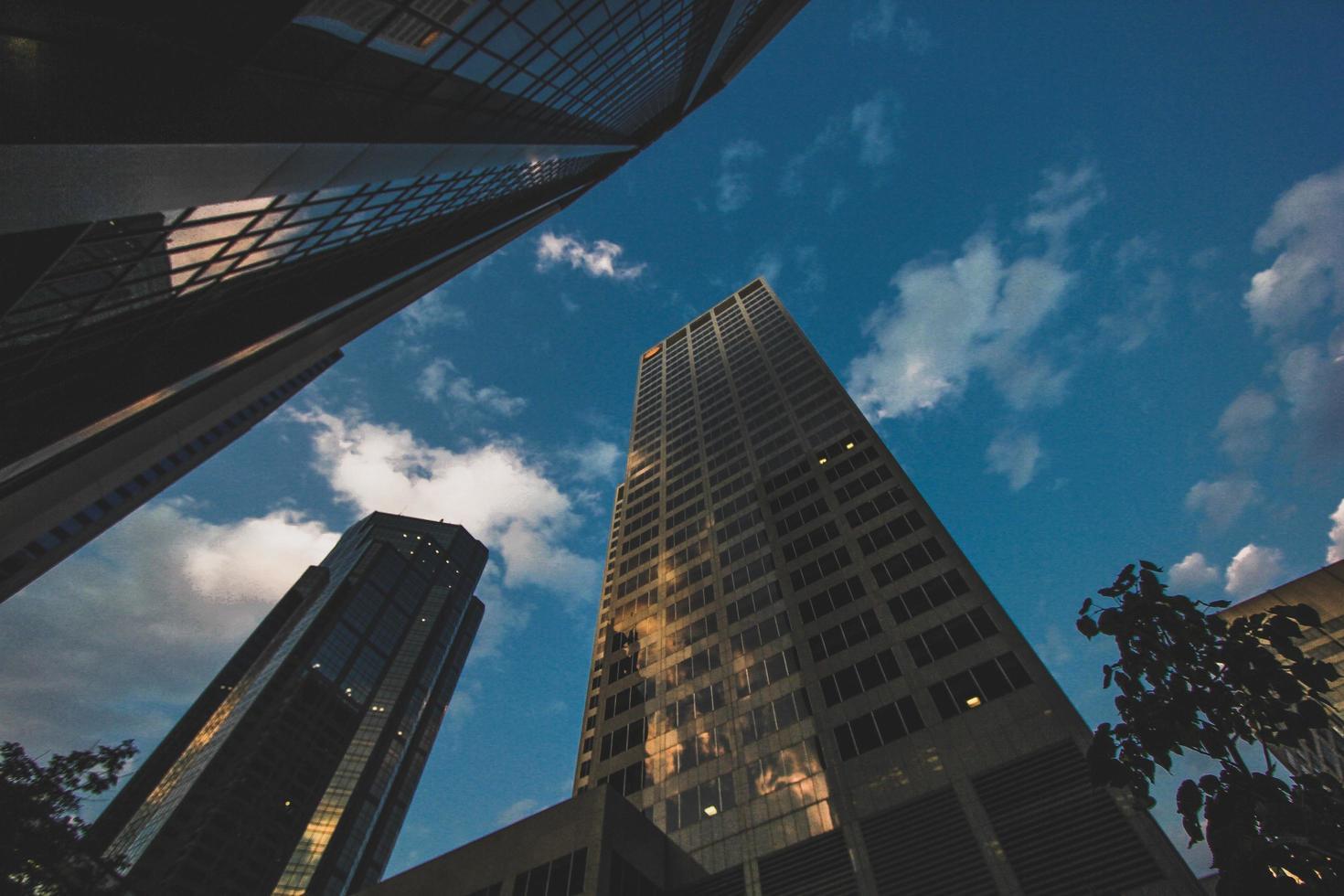 Fotografía de ángulo bajo de edificio de gran altura. foto