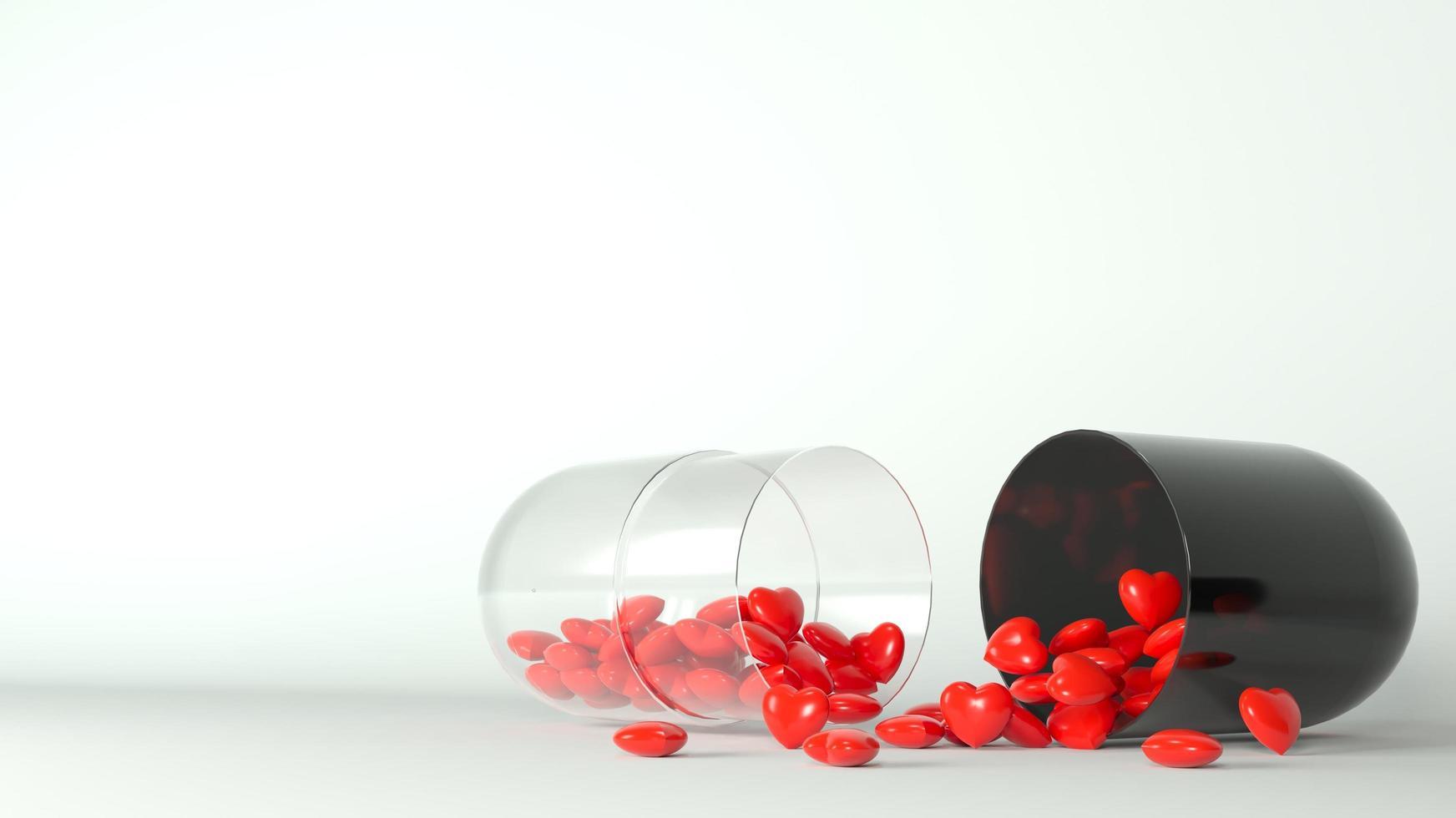 pastilla medica con corazones rojos foto
