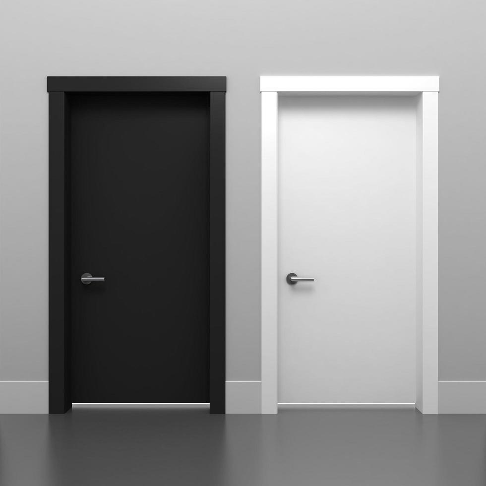 3D illustration black and white door photo