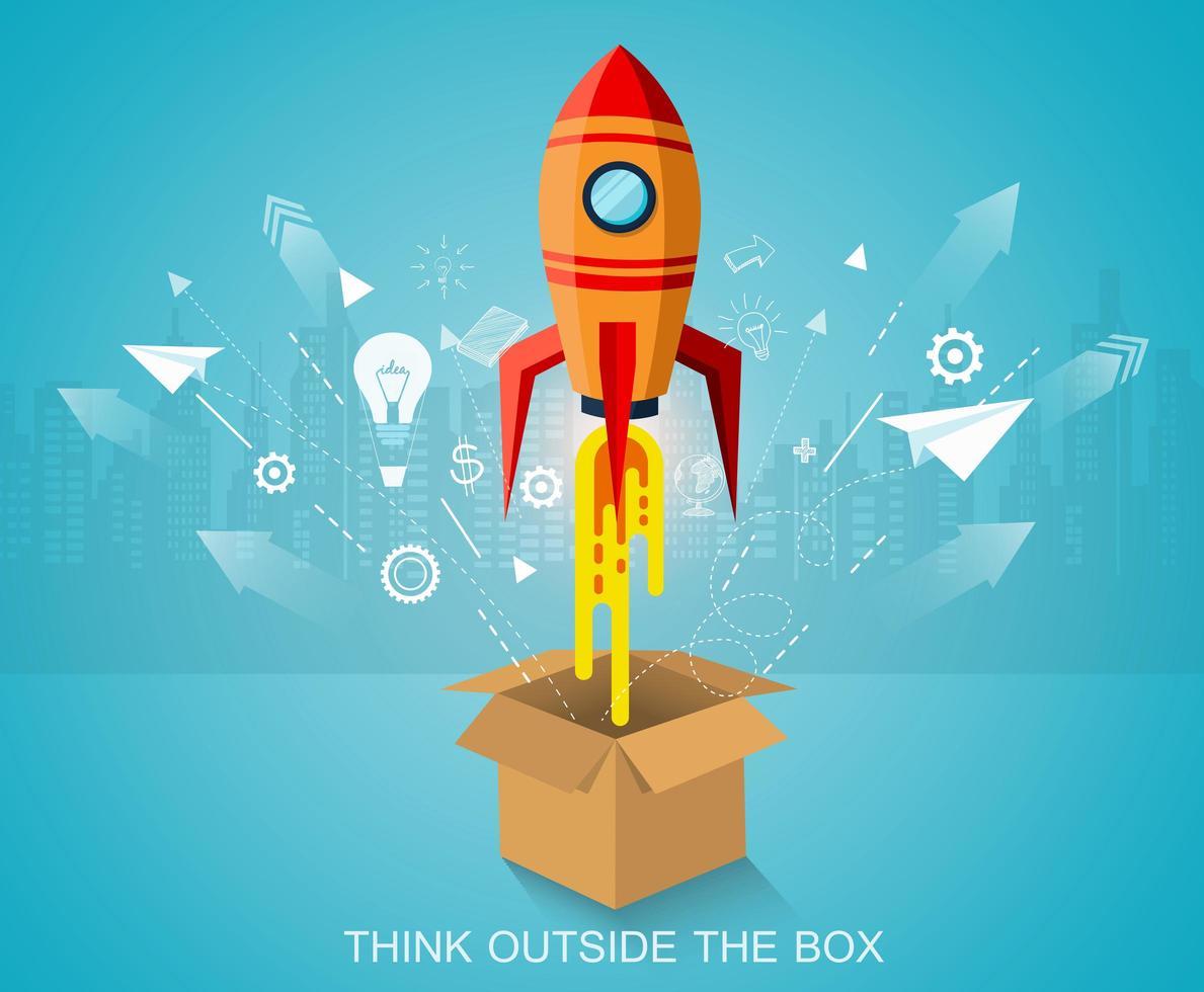 pensar fuera de la caja, lanzamiento de cohetes espaciales vector