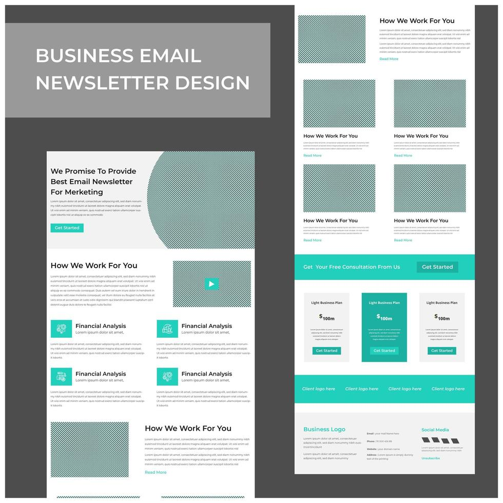 Business services marketing email template design vector