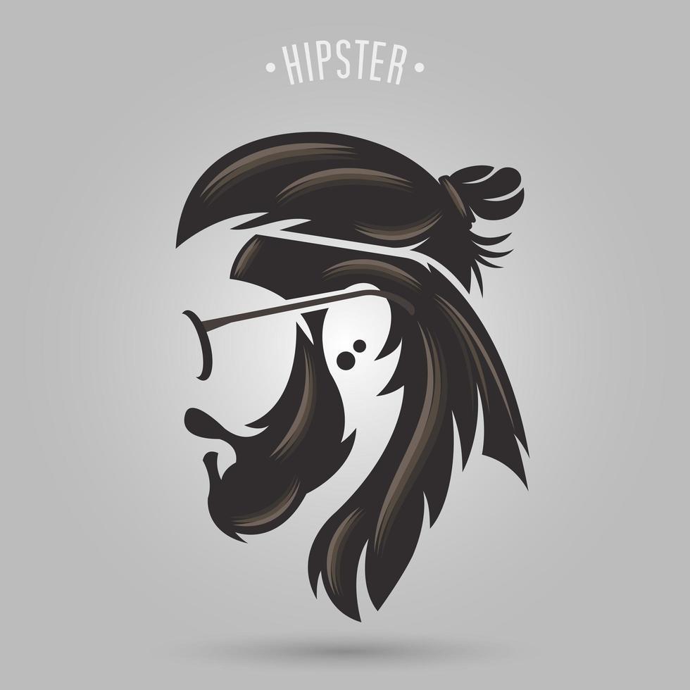 hombre hipster con cabello castaño, bigote y gafas vector