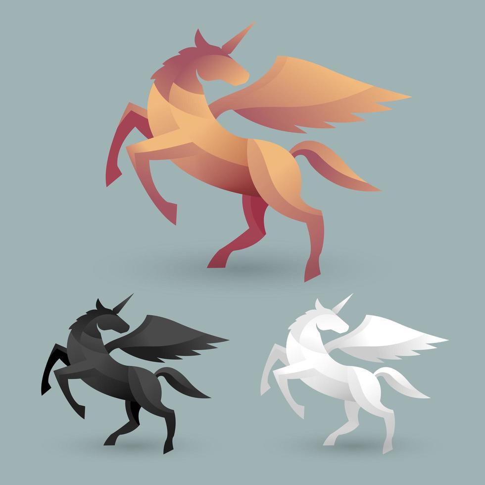 craft style unicorn set vector