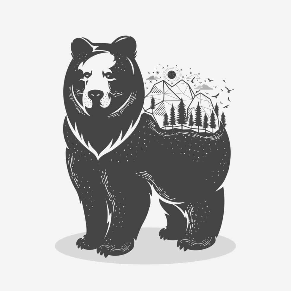 oso con lindas montañas vector