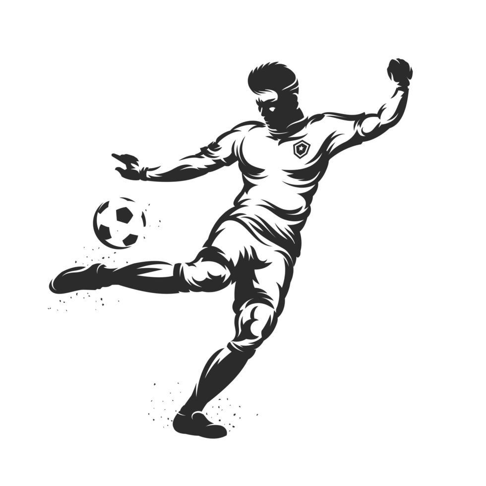 soccer player silhouette kicking a ball vector