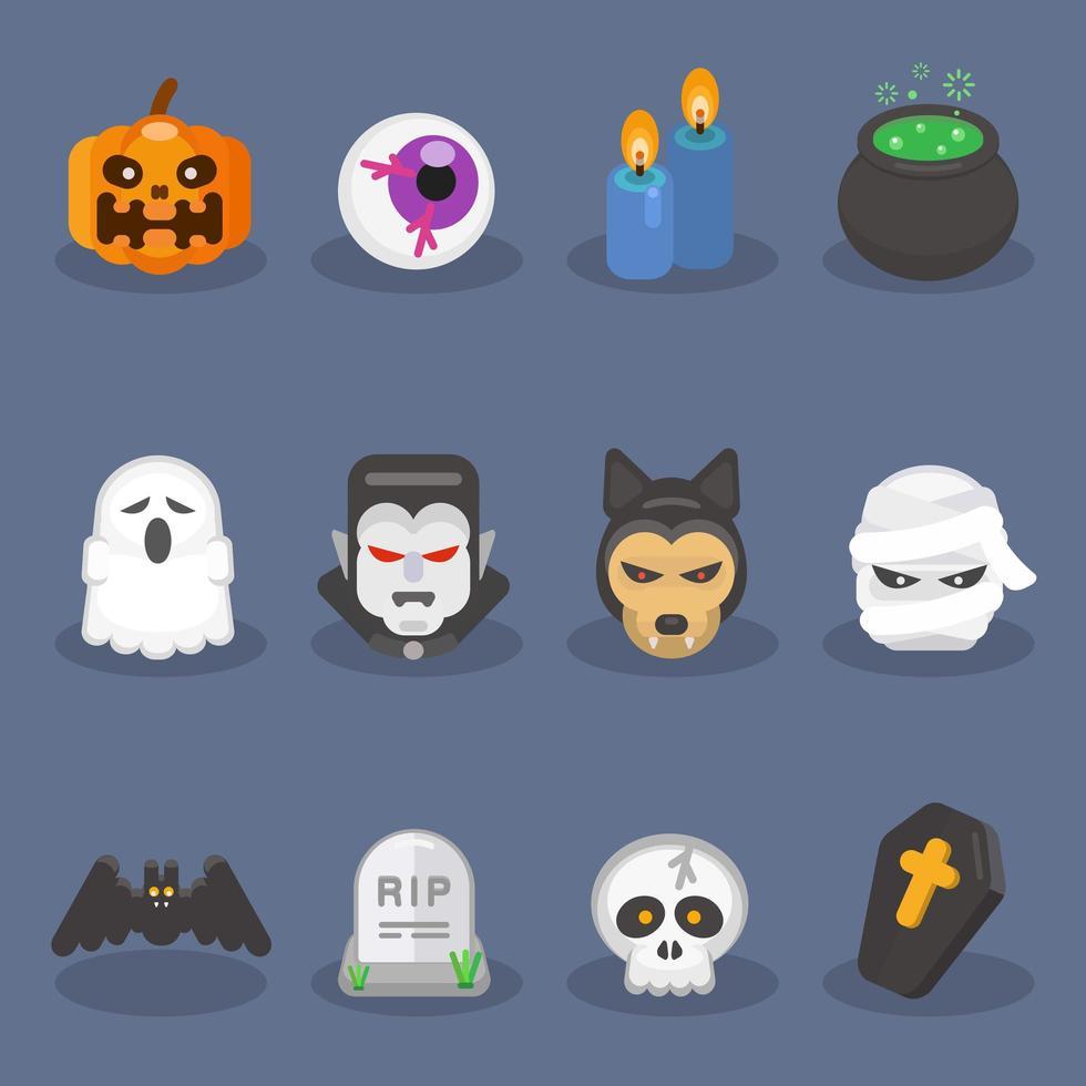lindo conjunto de iconos de halloween vector