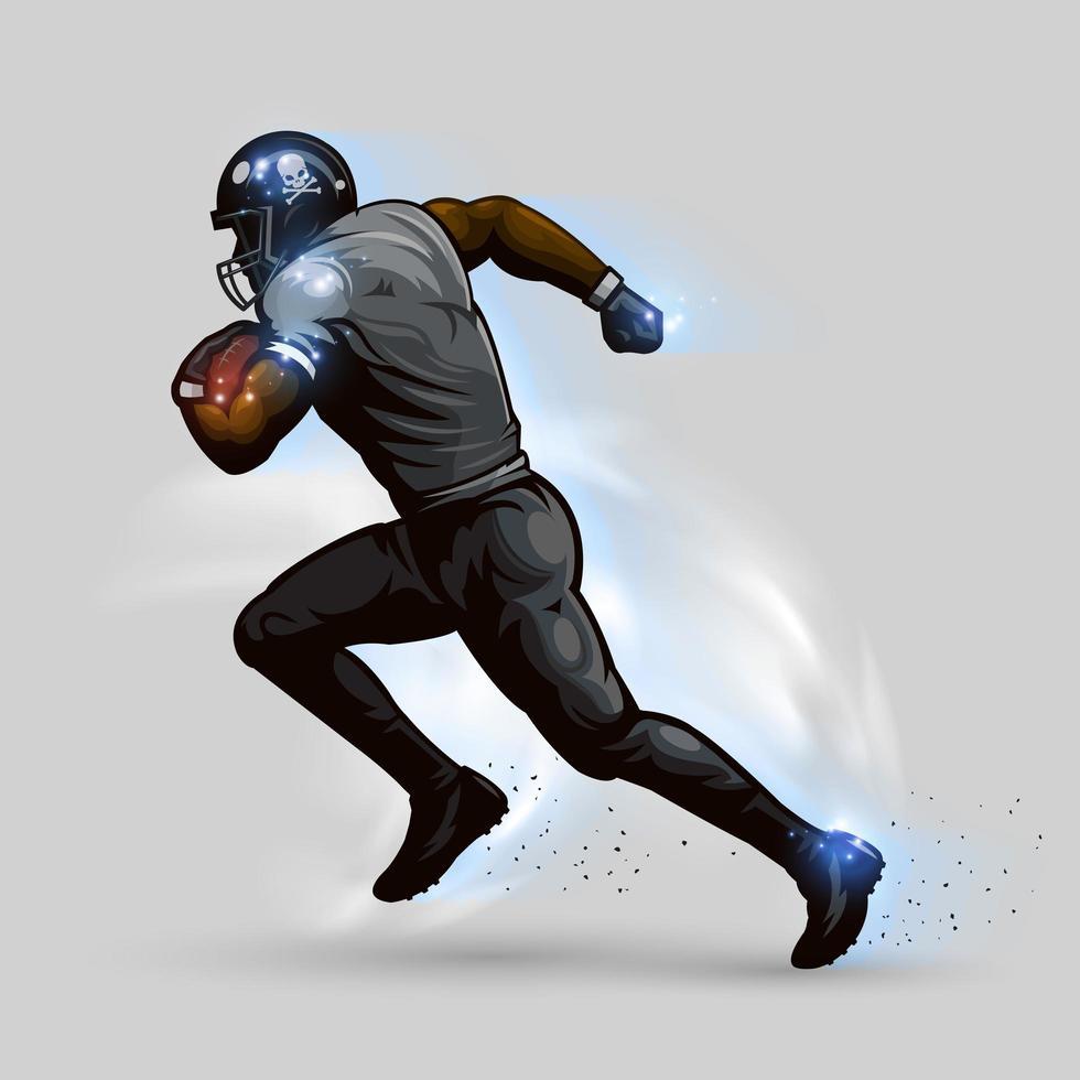 jugador de fútbol americano corriendo vector