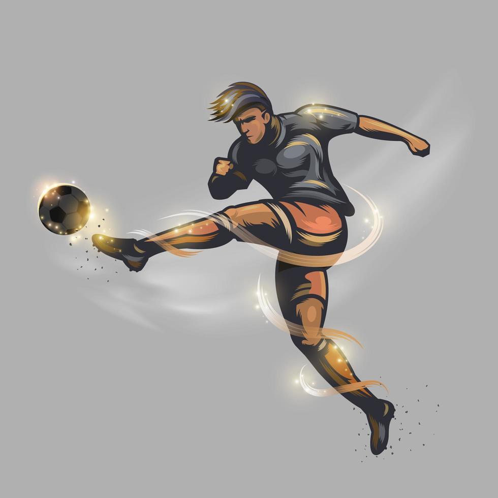 poder de jugador de fútbol pateando una pelota de fútbol vector