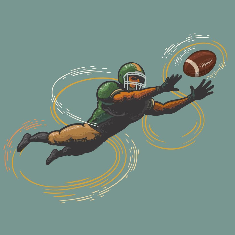jugador de fútbol americano atrapando la pelota vector