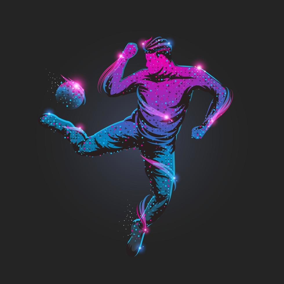 Abstract soccer player particles vector
