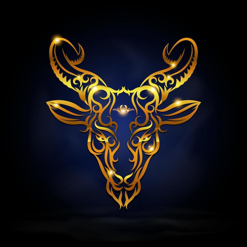 Gold capricorn zodiac symbol vector