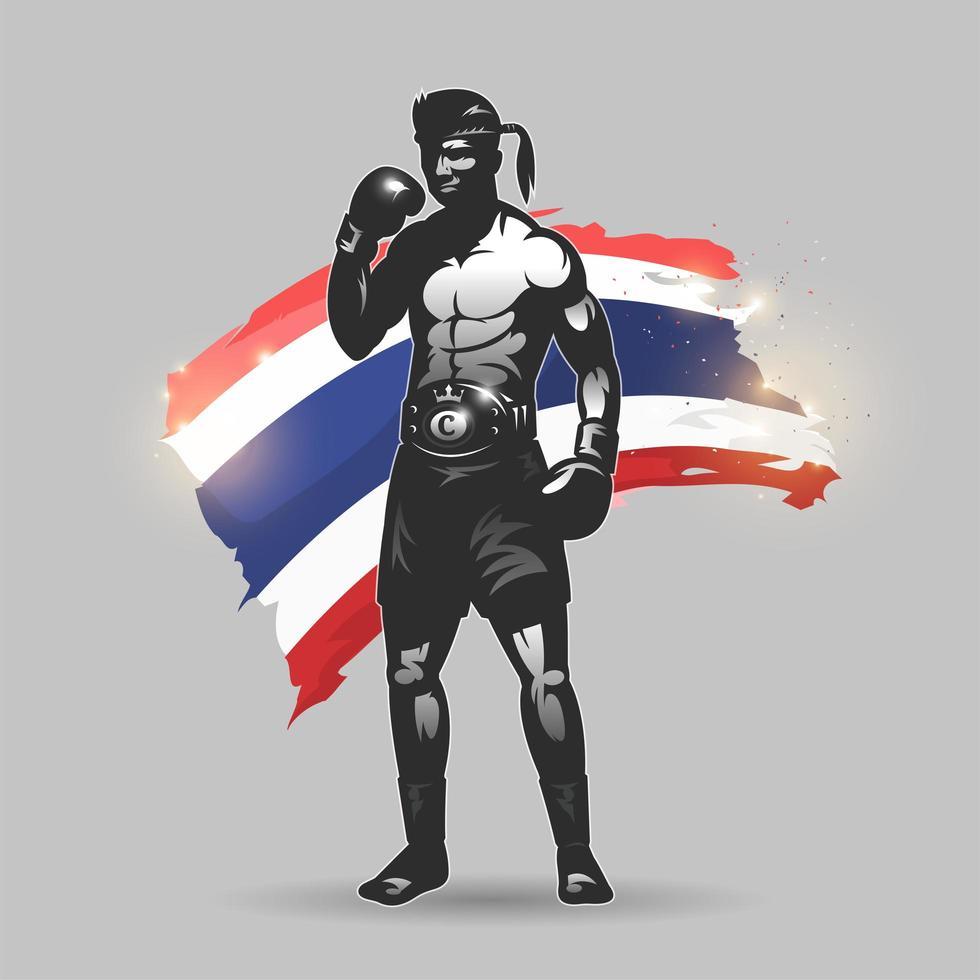 luchador de muay thai con bandera de tailandia vector