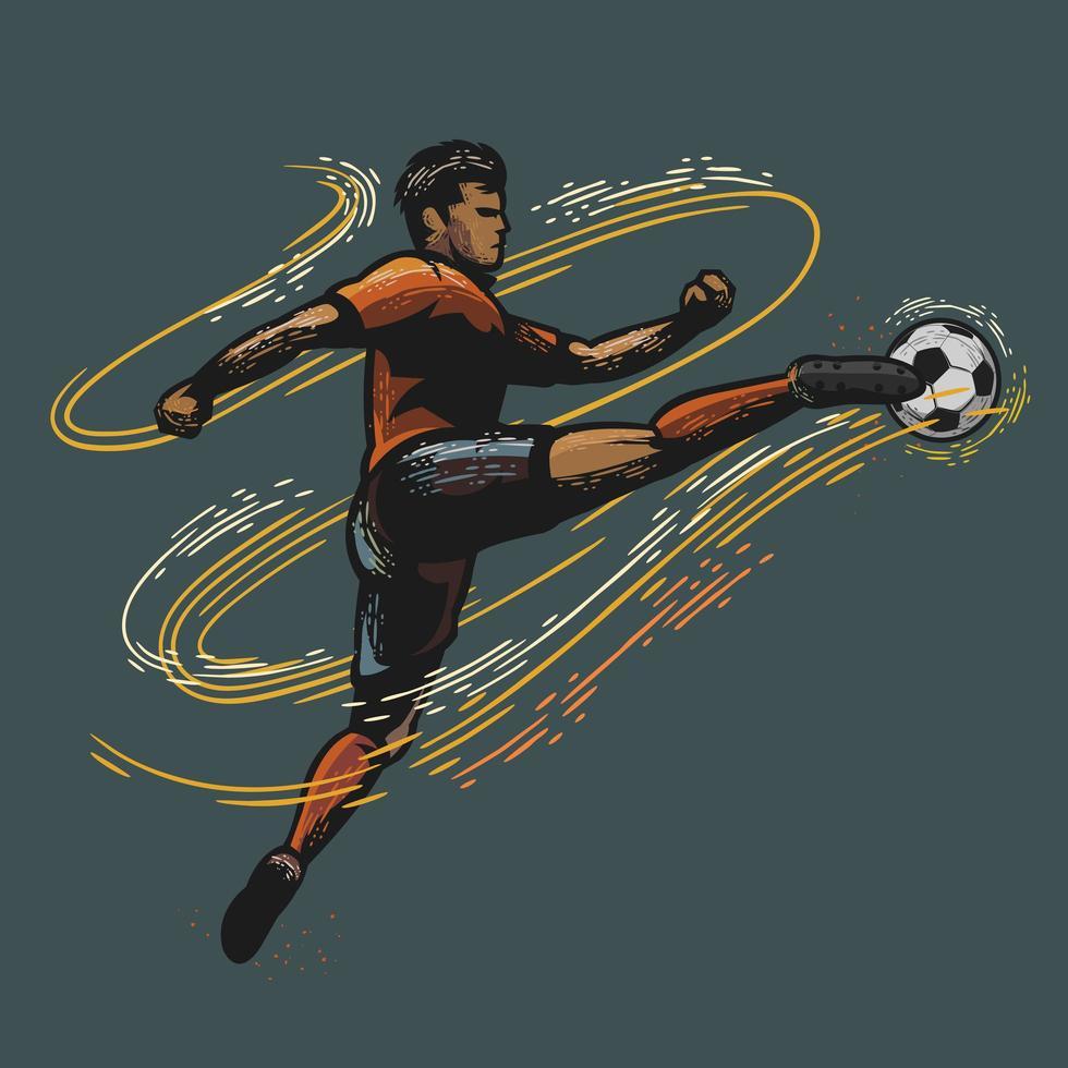 jugador de fútbol pateando un balón de fútbol diseño de color retro vector