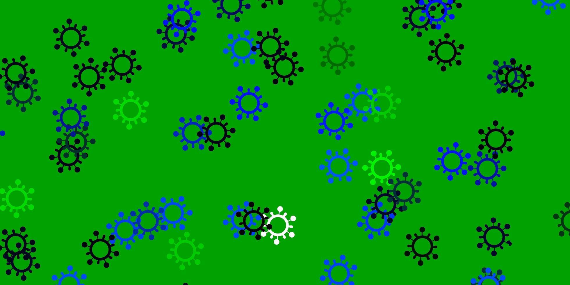plantilla de vector azul claro, verde con signos de gripe