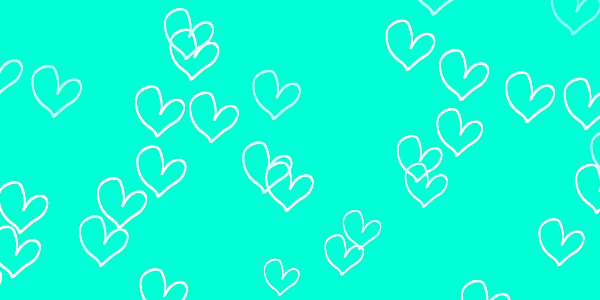 textura de vector verde claro con corazones encantadores.