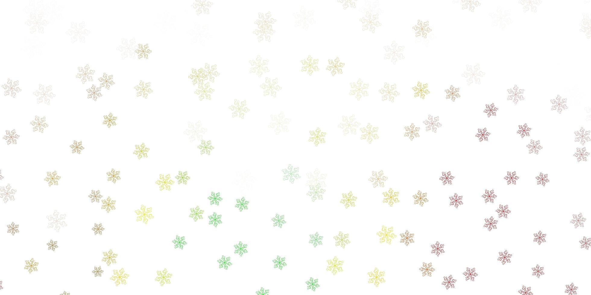 textura de doodle de vector verde claro, rojo con flores.