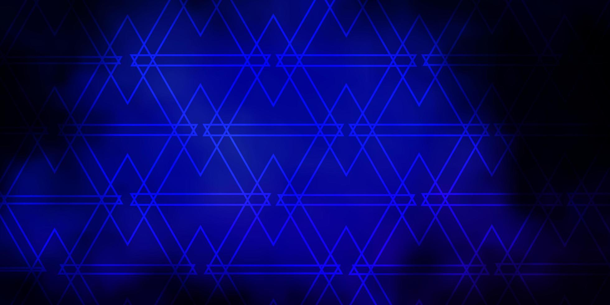 Dark BLUE vector background with lines, triangles.