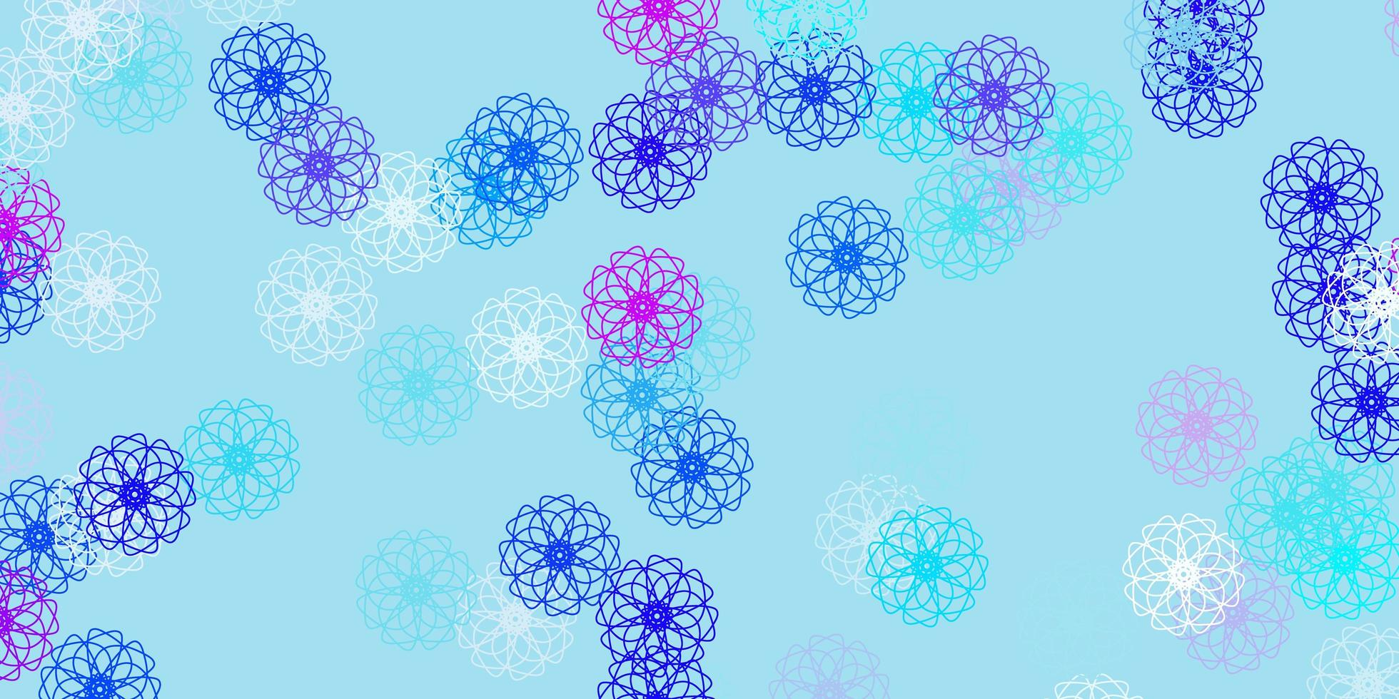 Light pink, blue vector doodle background with flowers.