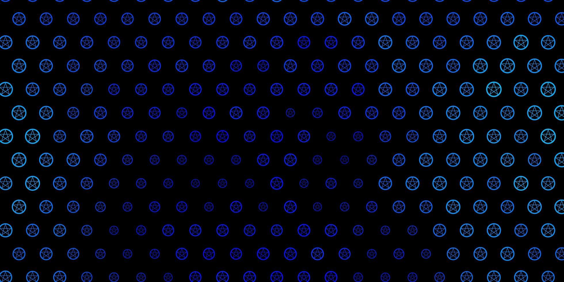 plantilla de vector azul oscuro con signos esotéricos.