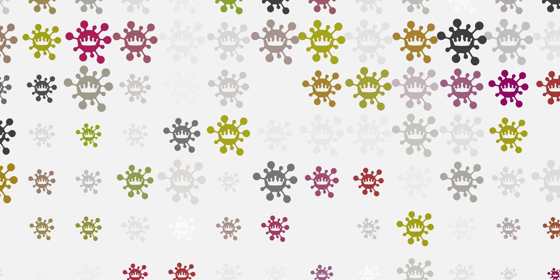 patrón de vector gris claro con elementos de coronavirus