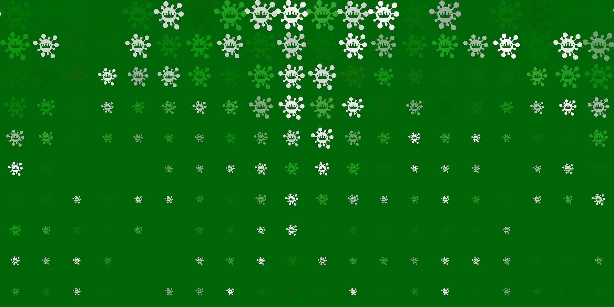 Fondo de vector verde claro con símbolos de virus