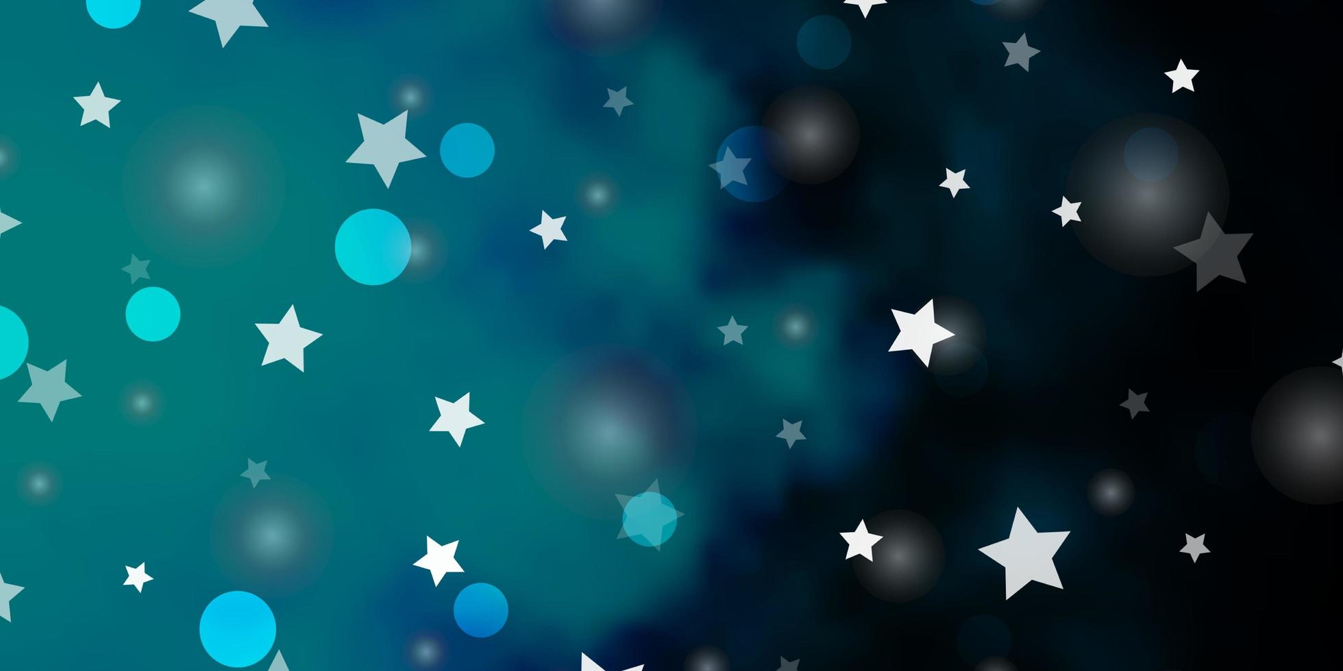 Telón de fondo de vector azul oscuro con círculos, estrellas.