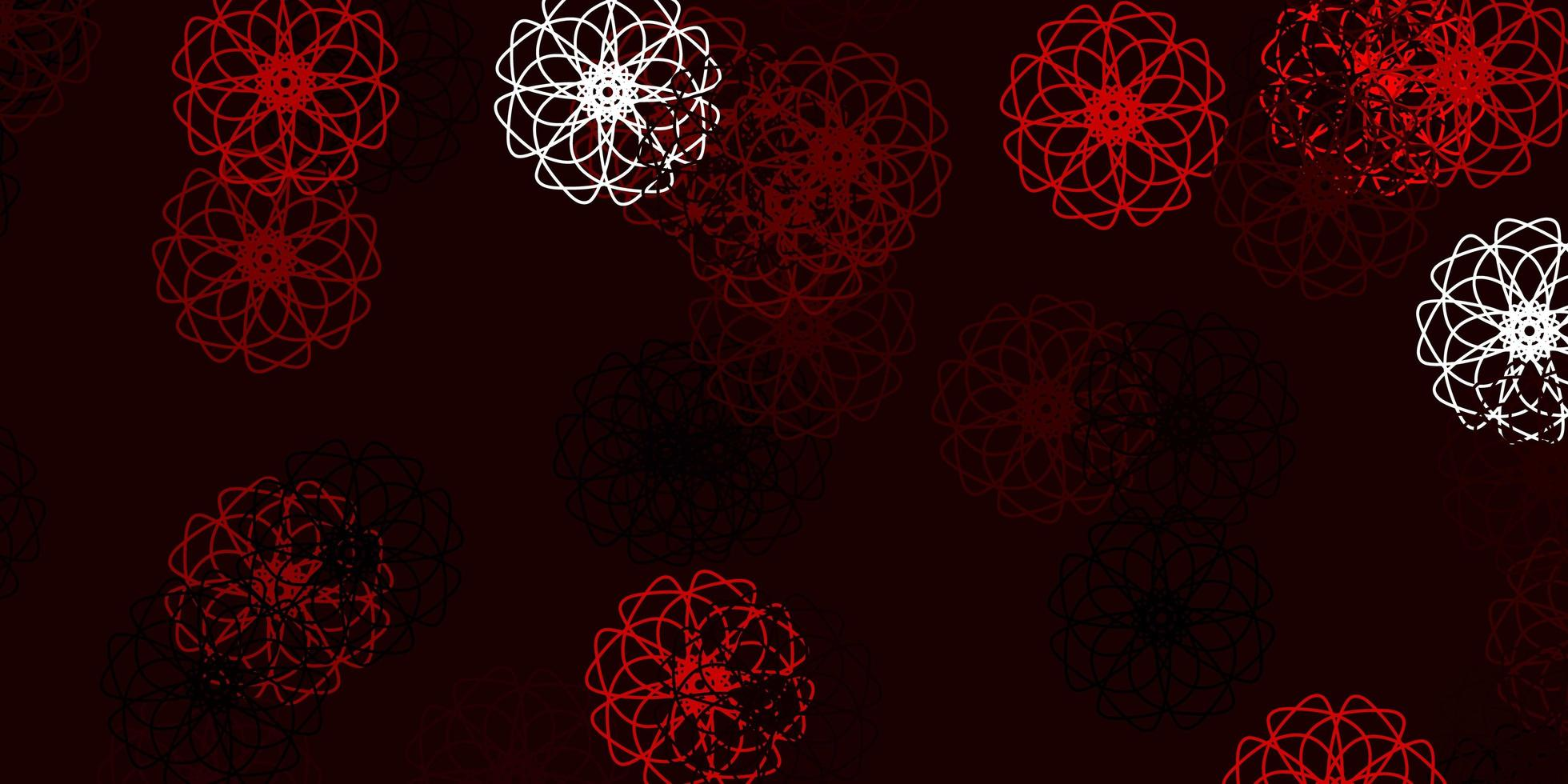 Light Red vector doodle pattern with flowers.