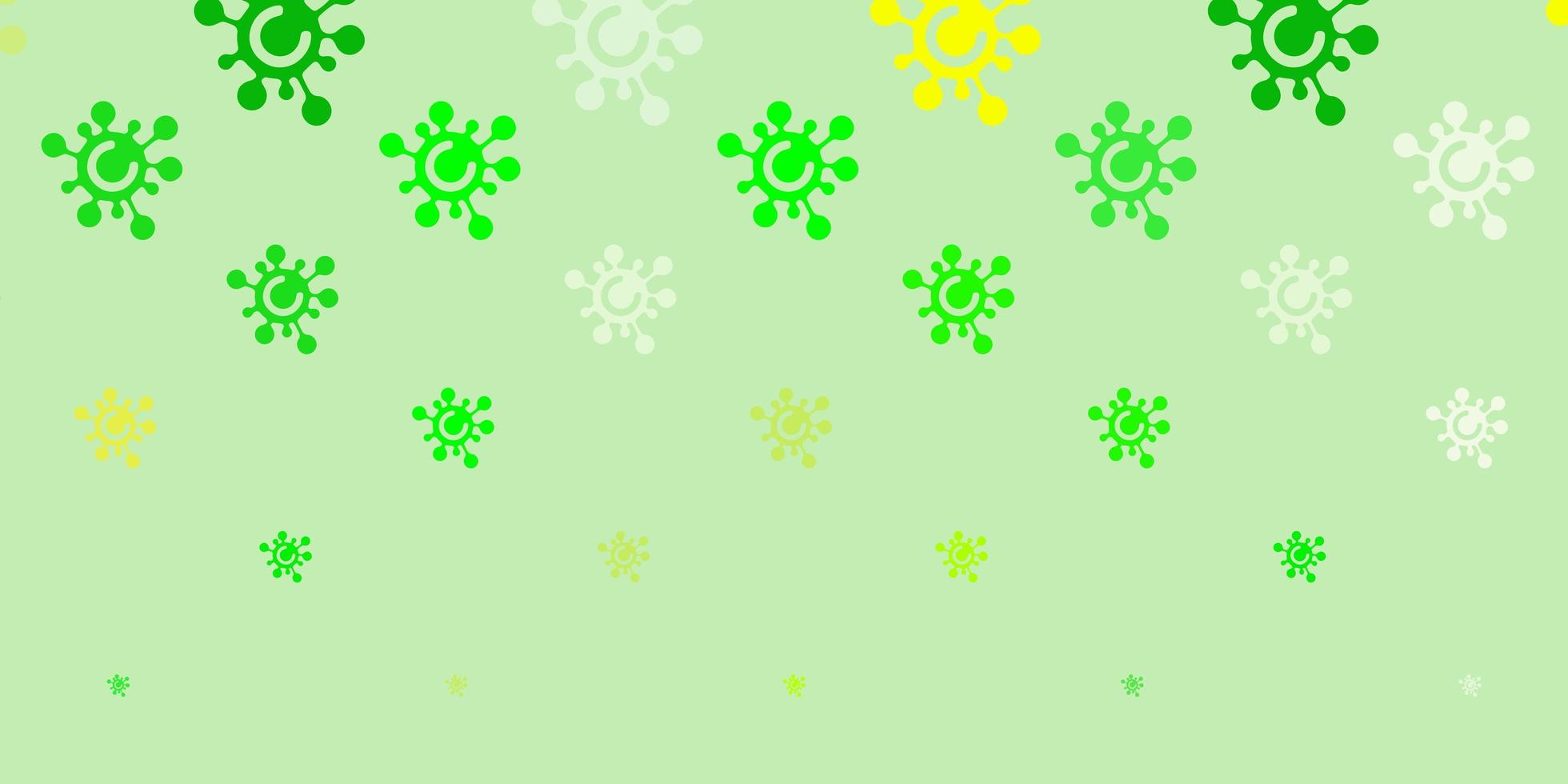 Fondo de vector verde claro, amarillo con símbolos de virus.