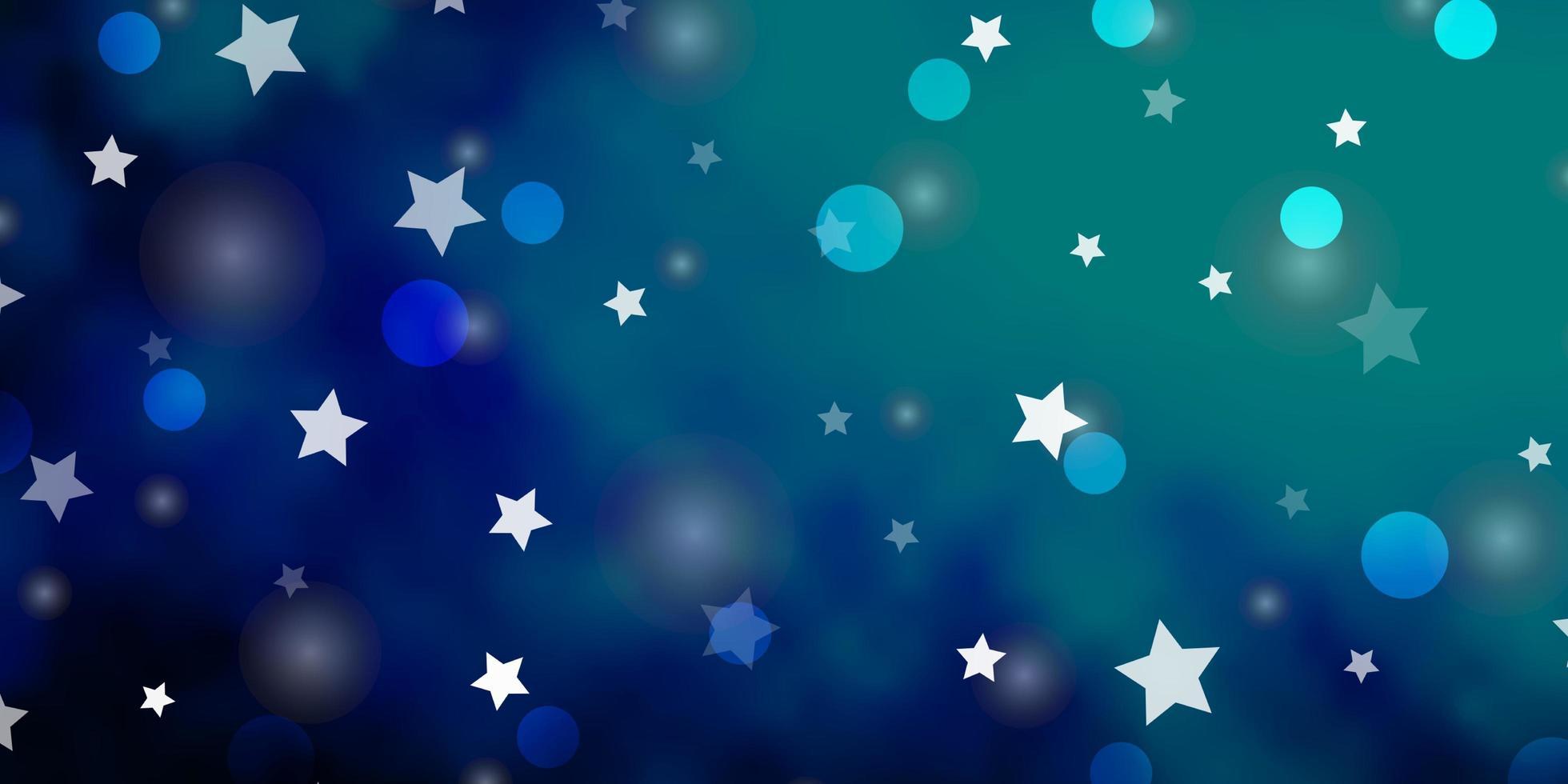 Dark BLUE vector texture with circles, stars.