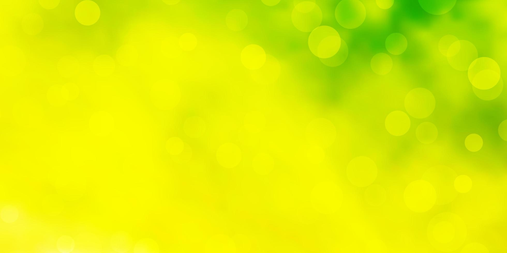 patrón de vector verde claro, amarillo con esferas.