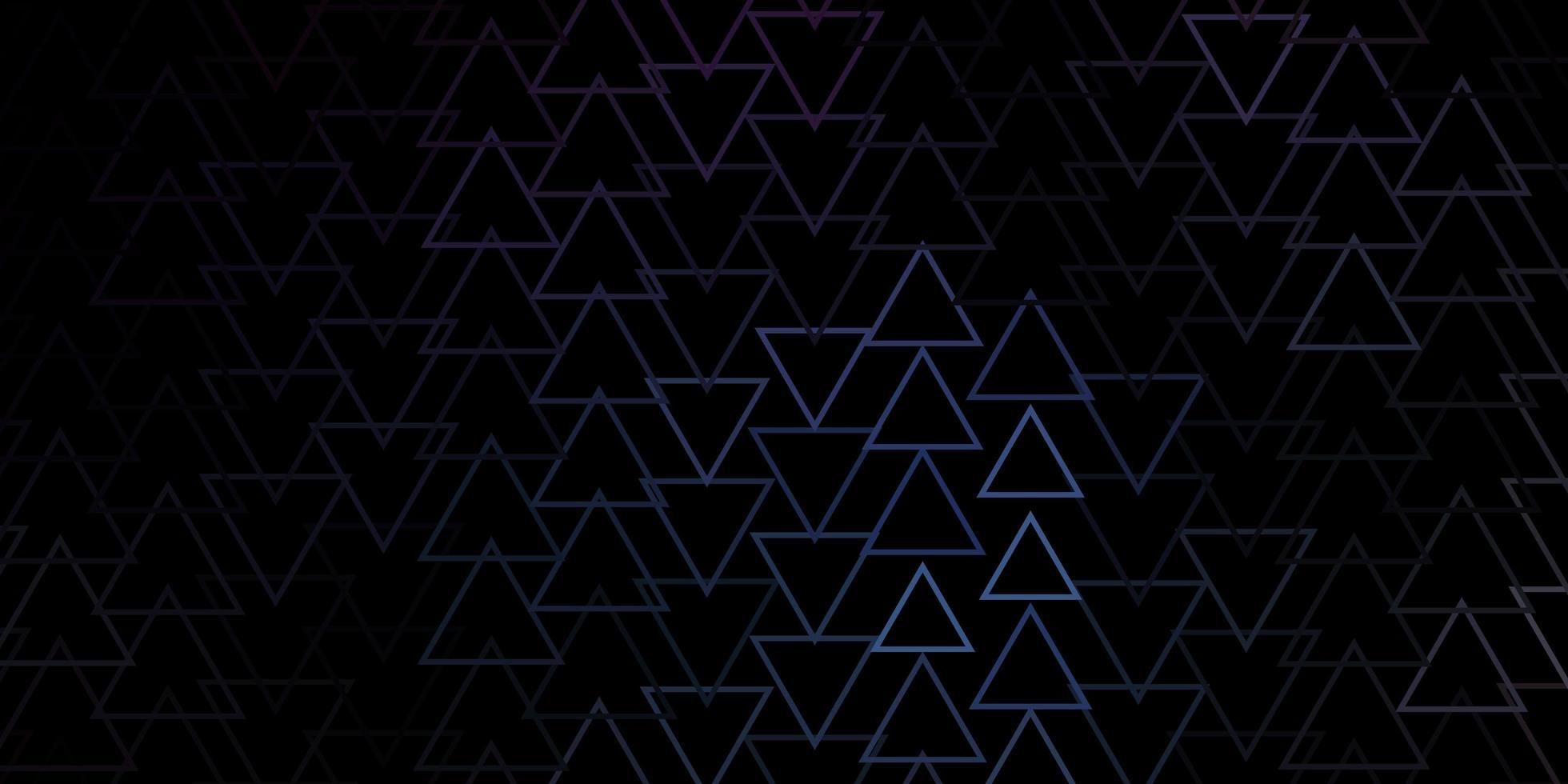 textura de vector azul oscuro con líneas, triángulos.
