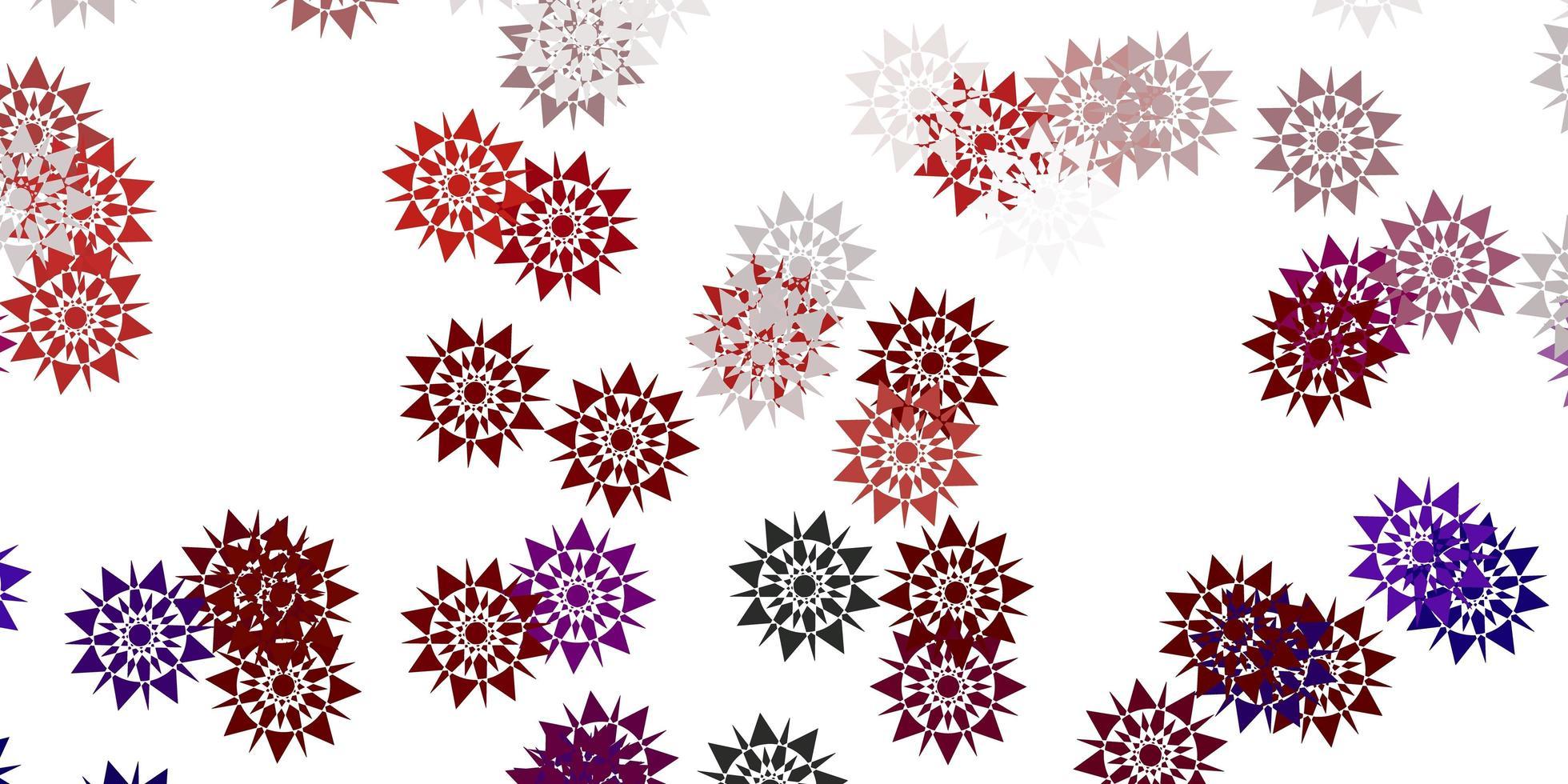 diseño de vector rojo claro con hermosos copos de nieve.