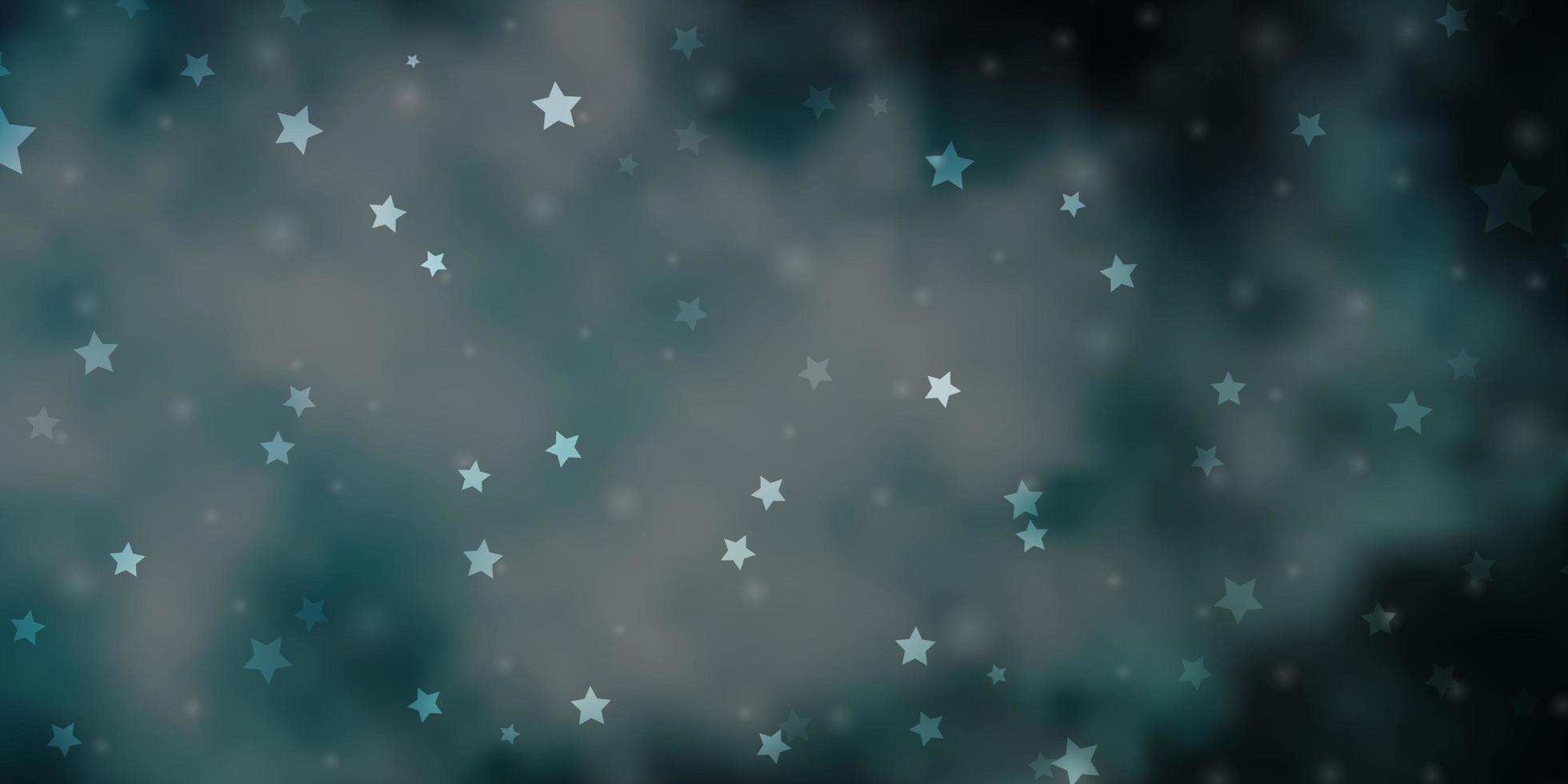 Dark BLUE vector template with neon stars.