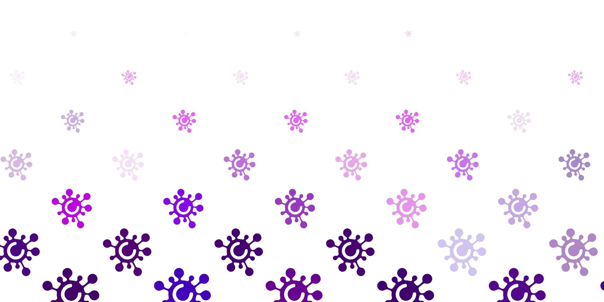 Light Purple vector background with covid-19 symbols.