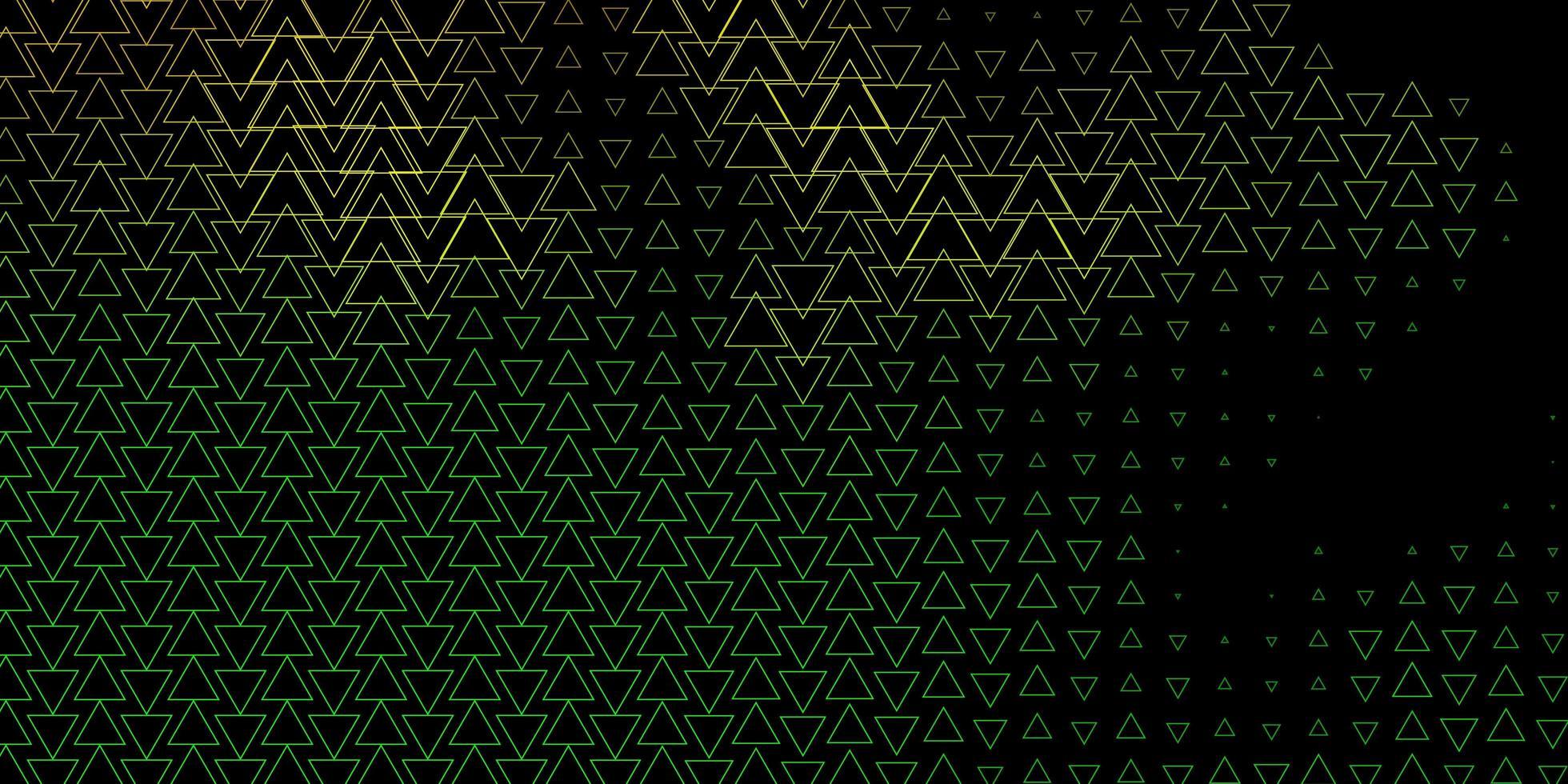 diseño de vector verde oscuro, amarillo con líneas, triángulos.
