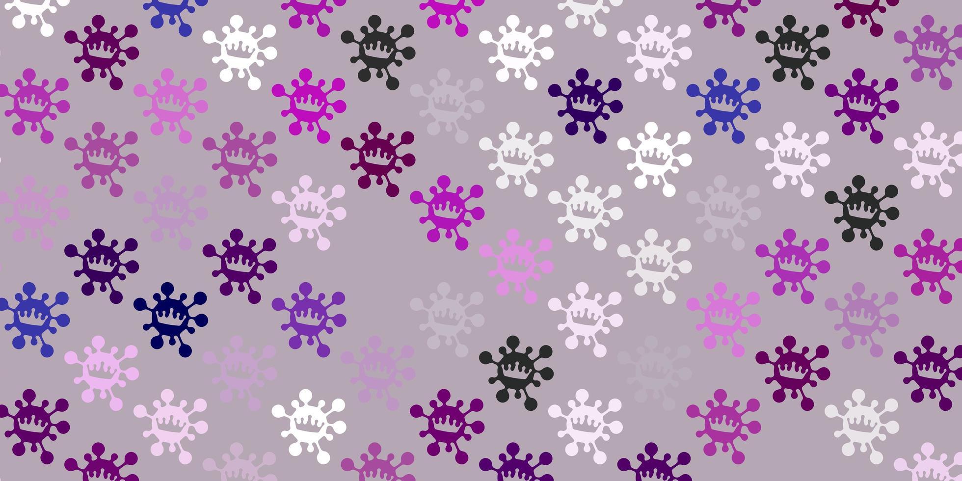 textura de vector púrpura claro con símbolos de enfermedad
